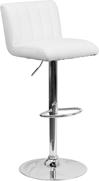 Wholesale Contemporary White Vinyl Adjustable Height Barstool with Vertical Stitch Back/Seat and Chrome Base