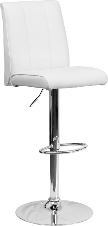 Wholesale Contemporary White Vinyl Adjustable Height Barstool with Vertical Stitch Panel Back and Chrome Base