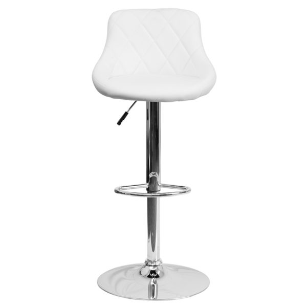 Cool Contemporary White Vinyl Bucket Seat Adjustable Height Barstool With Diamond Pattern Back And Chrome Base Pdpeps Interior Chair Design Pdpepsorg