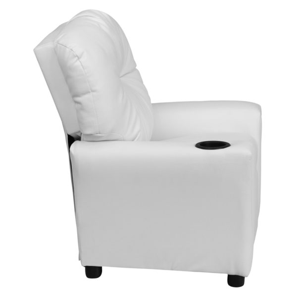Lowest Price Contemporary White Vinyl Kids Recliner with Cup Holder