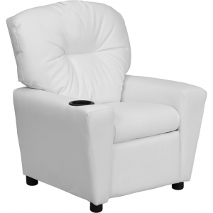 Wholesale Contemporary White Vinyl Kids Recliner with Cup Holder