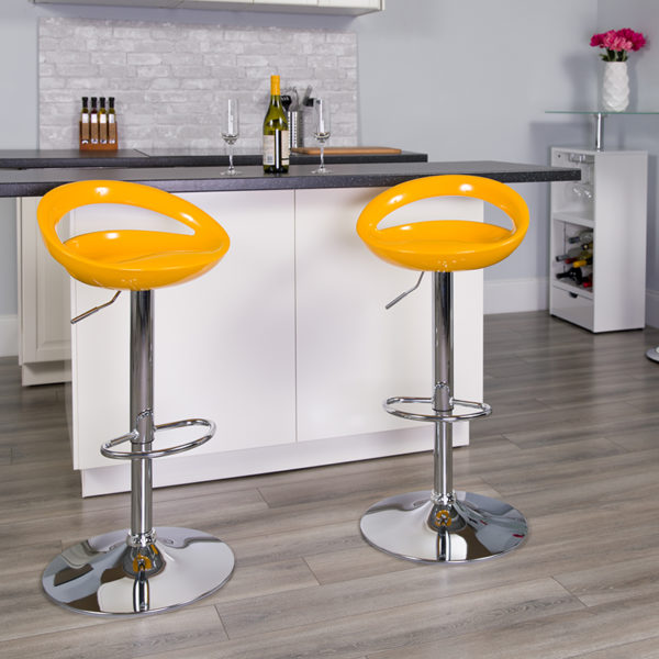 Lowest Price Contemporary Yellow Plastic Adjustable Height Barstool with Rounded Cutout Back and Chrome Base