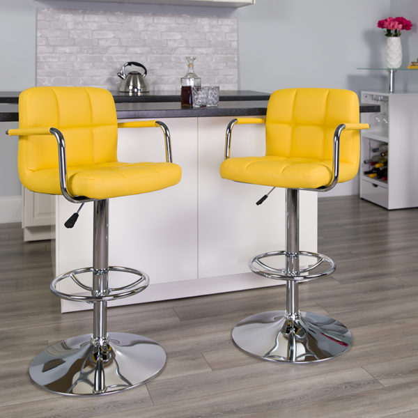 Lowest Price Contemporary Yellow Quilted Vinyl Adjustable Height Barstool with Arms and Chrome Base