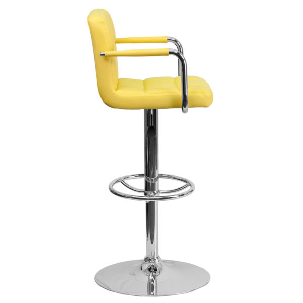 Contemporary Style Stool Yellow Quilted Vinyl Barstool