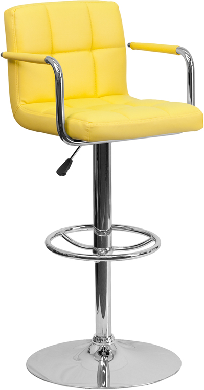 Wholesale Contemporary Yellow Quilted Vinyl Adjustable Height Barstool with Arms and Chrome Base