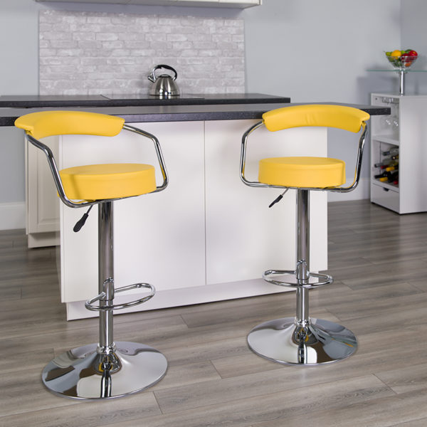 Lowest Price Contemporary Yellow Vinyl Adjustable Height Barstool with Arms and Chrome Base