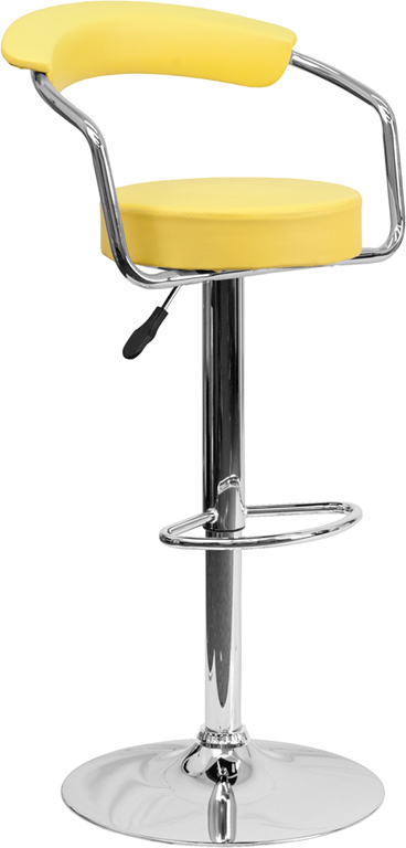 Wholesale Contemporary Yellow Vinyl Adjustable Height Barstool with Arms and Chrome Base