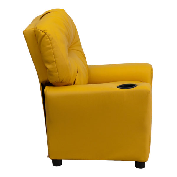 Lowest Price Contemporary Yellow Vinyl Kids Recliner with Cup Holder