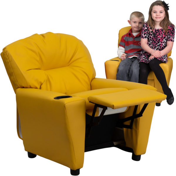 Wholesale Contemporary Yellow Vinyl Kids Recliner with Cup Holder