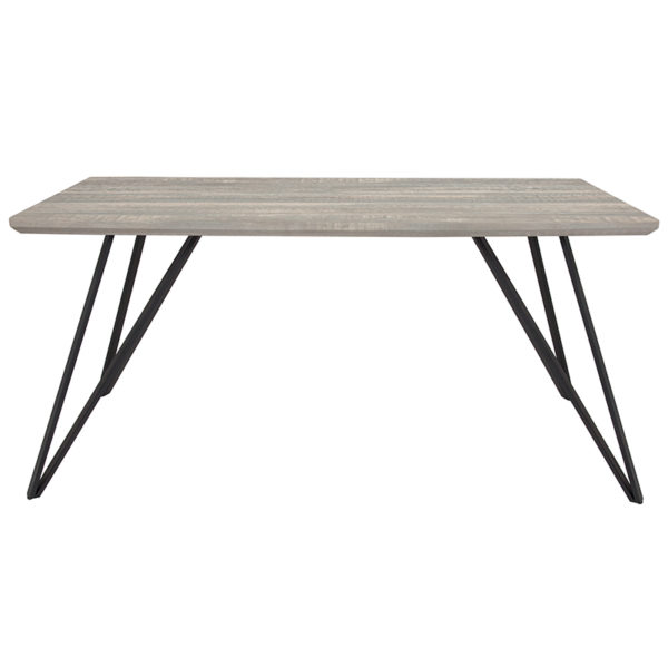 """Lowest Price Corinth 31.5"""" x 63"""" Rectangular Dining Table in Distressed Gray Wood Finish"""