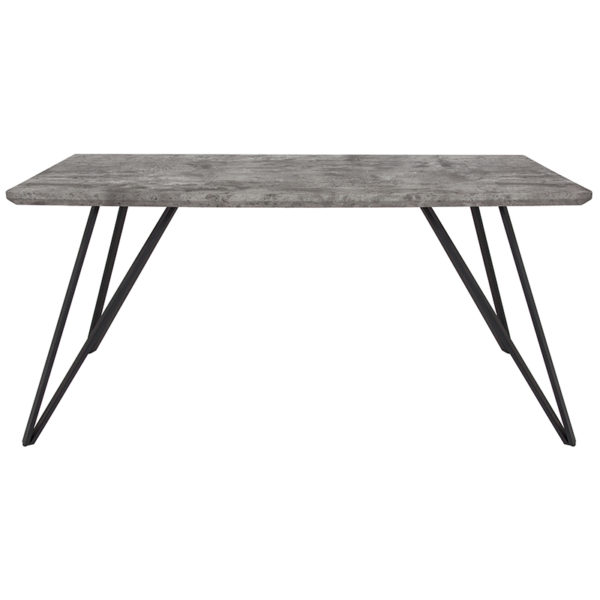 """Lowest Price Corinth 31.5"""" x 63"""" Rectangular Dining Table in Faux Concrete Finish"""