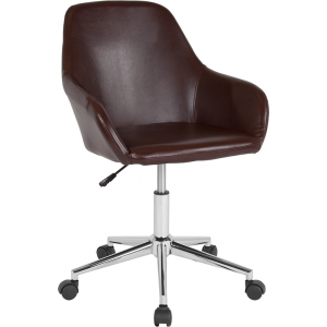 Wholesale Cortana Home and Office Mid-Back Chair in Brown Leather