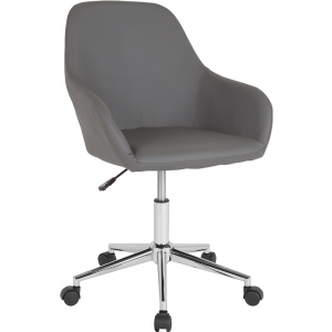 Wholesale Cortana Home and Office Mid-Back Chair in Gray Leather