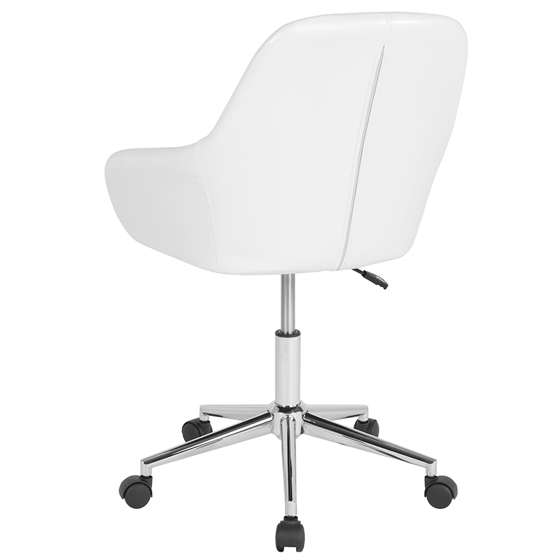 Office Mid Back Chair In White Leather