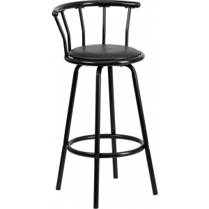 Wholesale Crown Back Black Metal Barstool with Black Vinyl Swivel Seat