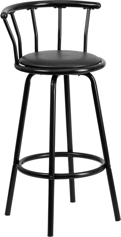Wholesale Crown Back Black Metal Barstool with Black Vinyl Swivel Seat