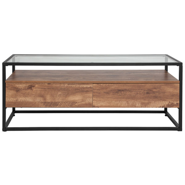 Lowest Price Cumberland Collection Glass Coffee Table with Two Drawers and Shelf in Rustic Wood Grain Finish
