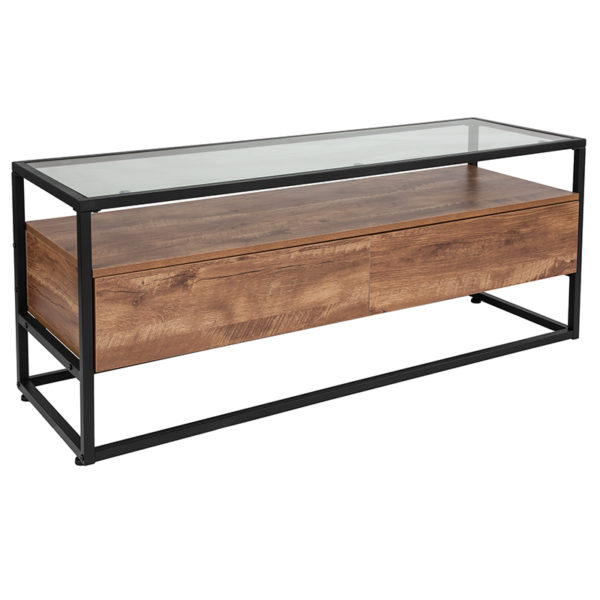 Wholesale Cumberland Collection Glass Coffee Table with Two Drawers and Shelf in Rustic Wood Grain Finish