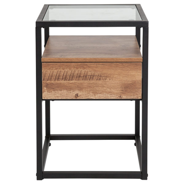 Lowest Price Cumberland Collection Glass End Table with Drawer and Shelf in Rustic Wood Grain Finish