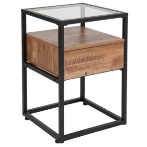 Wholesale Cumberland Collection Glass End Table with Drawer and Shelf in Rustic Wood Grain Finish