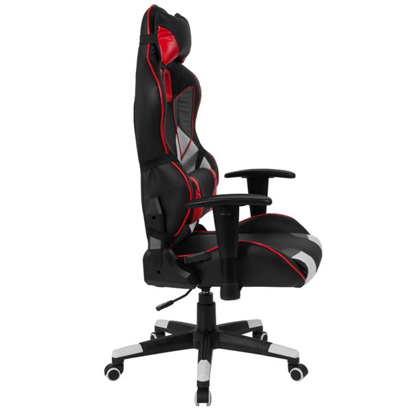 Gray & Red Reclining Racing/Gaming Office Chair with Lumbar Support