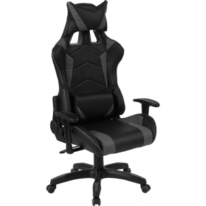 Wholesale Cumberland Comfort Series High Back Black and Gray Reclining Racing/Gaming Office Chair with Adjustable Lumbar Support
