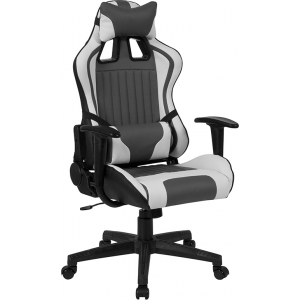Wholesale Cumberland Comfort Series High Back Gray and White Reclining Racing/Gaming Office Chair with Adjustable Lumbar Support