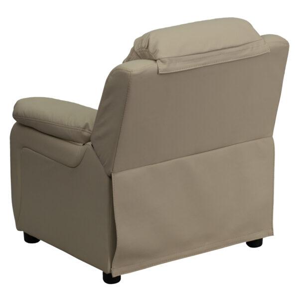 Child Sized Recliner Chair Beige Vinyl Kids Recliner