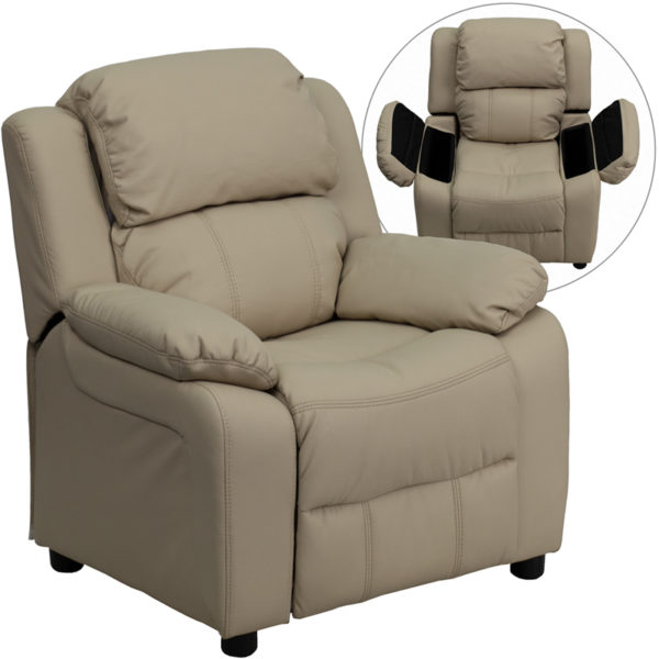 Wholesale Deluxe Padded Contemporary Beige Vinyl Kids Recliner with Storage Arms