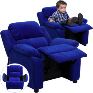 Wholesale Deluxe Padded Contemporary Blue Microfiber Kids Recliner with Storage Arms