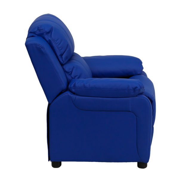 Lowest Price Deluxe Padded Contemporary Blue Vinyl Kids Recliner with Storage Arms