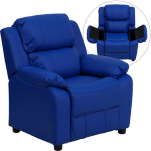 Wholesale Deluxe Padded Contemporary Blue Vinyl Kids Recliner with Storage Arms