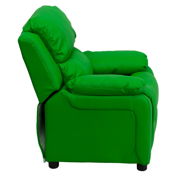 Lowest Price Deluxe Padded Contemporary Green Vinyl Kids Recliner with Storage Arms