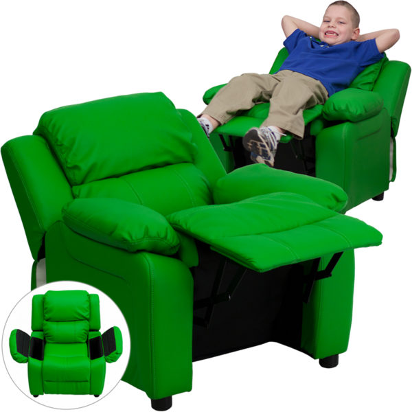 Wholesale Deluxe Padded Contemporary Green Vinyl Kids Recliner with Storage Arms
