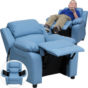 Wholesale Deluxe Padded Contemporary Light Blue Vinyl Kids Recliner with Storage Arms