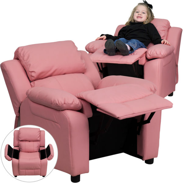 Wholesale Deluxe Padded Contemporary Pink Vinyl Kids Recliner with Storage Arms