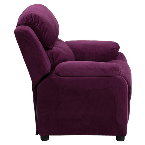 Lowest Price Deluxe Padded Contemporary Purple Microfiber Kids Recliner with Storage Arms