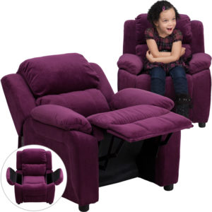 Wholesale Deluxe Padded Contemporary Purple Microfiber Kids Recliner with Storage Arms
