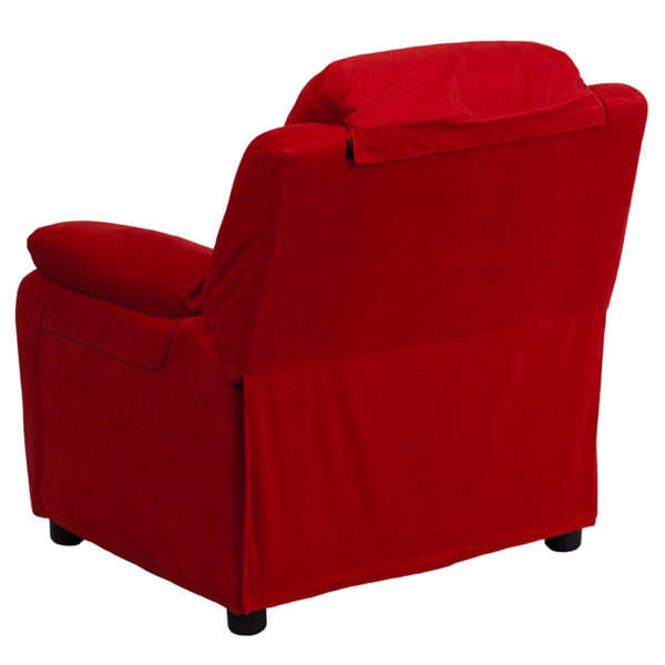 Child Sized Recliner Chair Red Microfiber Kids Recliner
