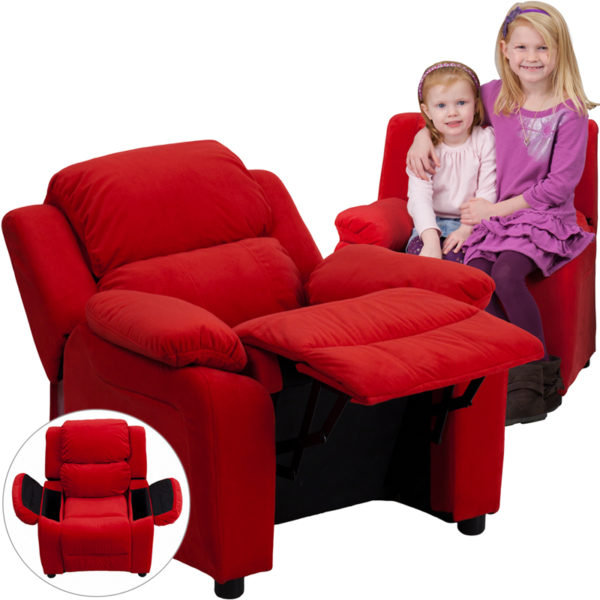 Wholesale Deluxe Padded Contemporary Red Microfiber Kids Recliner with Storage Arms