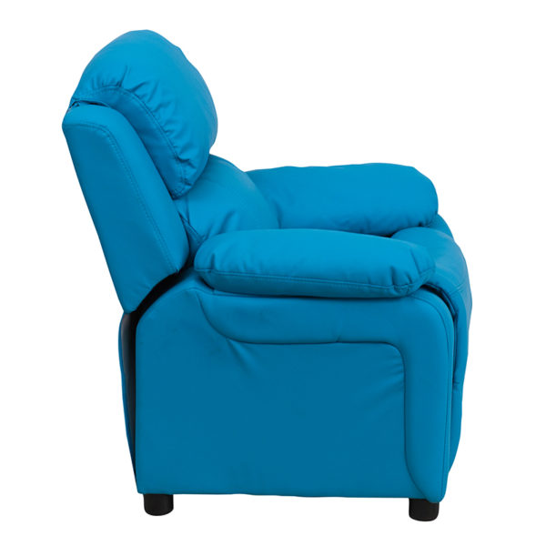 Lowest Price Deluxe Padded Contemporary Turquoise Vinyl Kids Recliner with Storage Arms