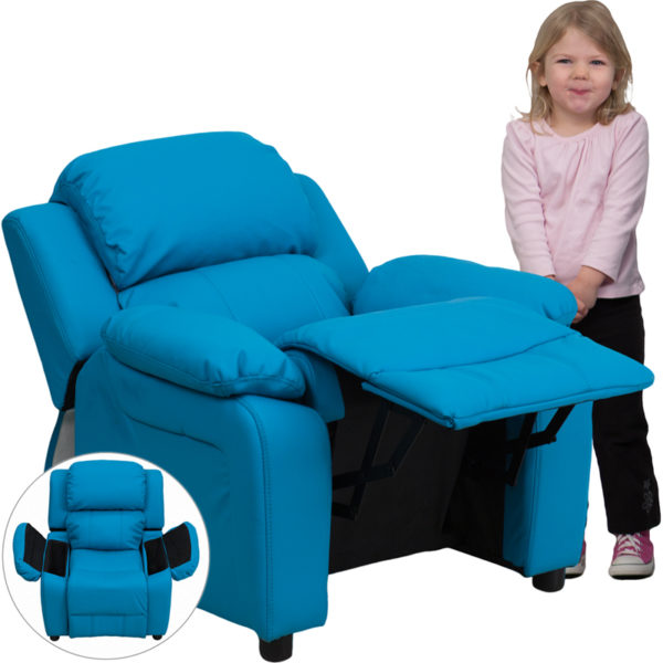 Wholesale Deluxe Padded Contemporary Turquoise Vinyl Kids Recliner with Storage Arms