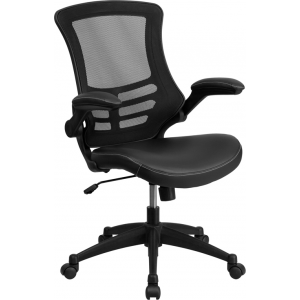 Wholesale Desk Chair with Wheels | Swivel Chair with Mid-Back Black Mesh and LeatherSoft Seat for Home Office and Desk