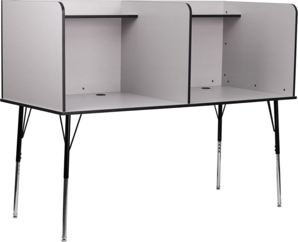 Wholesale Double Wide Study Carrel with Adjustable Legs and Top Shelf in Nebula Grey Finish