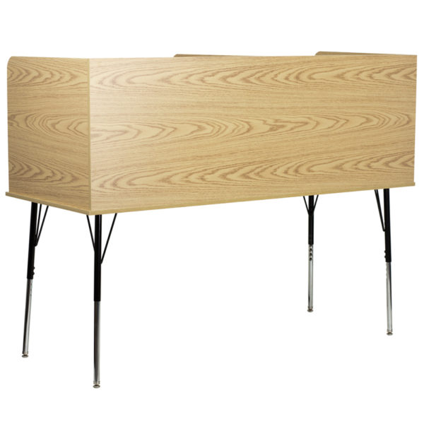 Lowest Price Double Wide Study Carrel with Adjustable Legs and Top Shelf in Oak Finish