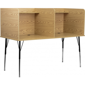 Wholesale Double Wide Study Carrel with Adjustable Legs and Top Shelf in Oak Finish