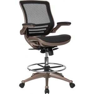 Wholesale Drafting Chair | Adjustable Height Mid-Back Mesh Drafting Chair with Arms