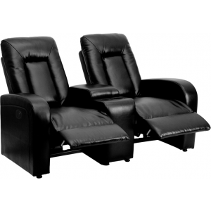 Wholesale Eclipse Series 2-Seat Push Button Motorized Reclining Black Leather Theater Seating Unit with Cup Holders