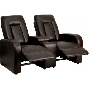 Wholesale Eclipse Series 2-Seat Push Button Motorized Reclining Brown Leather Theater Seating Unit with Cup Holders