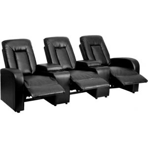 Wholesale Eclipse Series 3-Seat Reclining Black Leather Theater Seating Unit with Cup Holders